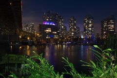 Famous downtown vancouver at twilight stock image