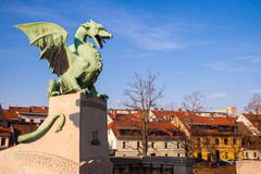 Famous Dragon bridge in Ljubljana Stock Photography