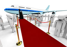 Famous Dummy with an airplane. 3D render image representing a famous dummy arrived with the airplane and a red carpet with a waiting crowd Royalty Free Stock Photos