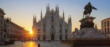Famous Duomo at sunrise. Milan, Europe stock photography