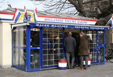 Famous Dutch New Herring Stand In Residence The Hague, Netherlands Royalty Free Stock Images