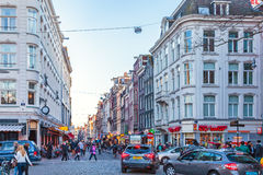 The famous Dutch shopping street Damstraat in Amsterdam, The Net Royalty Free Stock Photo