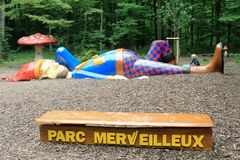 Famous dwarf in Parc Merveilleux, Bettembourg in Luxembourg. At the entrance to the Entertainment Parc. Fun for kids and their families Stock Photography