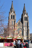 Famous easter market at St. Ludmila church, Mirove square, Prague Royalty Free Stock Photography
