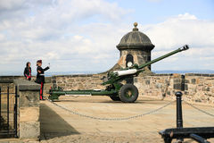 The famous Edinburgh cannon which shoots at one oclock for corr Royalty Free Stock Images