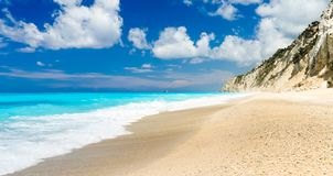 The famous Egremni beach & x28;Lefkada,Greece& x29;. Detailed panorama of Egremni beach on the island of Lefkada, Greece on a sunny day stock photos