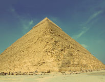 Famous egypt pyramid - vintage retro style. Famous ancient egypt pyramid in Giza Cairo - vintage retro style Royalty Free Stock Photos