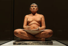 Famous Egyptian statue of the Seated Scribe stock image