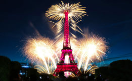 Famous Eiffel Tower and beautiful fireworks during celebrations of French national holiday - Bastille Day. PARIS, FRANCE - JULY 14, 2017: Famous Eiffel Tower stock photo