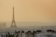 Famous eiffel tower in the dusk Royalty Free Stock Images