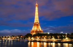 The famous Eiffel Tower in the Dusk,Paris, France. Royalty Free Stock Photo