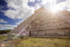 Famous El Castillo pyramid The Kukulkan Temple, feathered serpent pyramid at Maya archaeological site of Chichen Itza in Yucatan Stock Photos