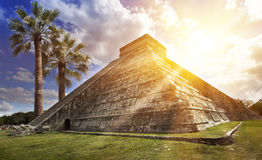 Famous El Castillo pyramid The Kukulkan Temple, feathered serpent pyramid at Maya archaeological site of Chichen Itza in Yucatan. Mexico Royalty Free Stock Image