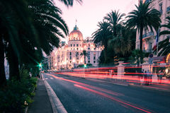 The famous El Negresco Hotel in Nice, France. NICE FRANCE: Palatial hotel Negresco at night. Hotel Negresco is the famous luxury hotel on the Promenade des Royalty Free Stock Images