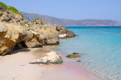 Famous Elafonissi beach with pink sand, Crete Royalty Free Stock Photos