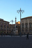 Famous Elephant Fountain from 18th century on Cathedral Square in Catania. Stock Photo