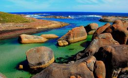 The famous Elephant Rocks in William Bay, Western Australia. The sheltered Elephant Rocks beach in William Bay National Park, Western Australia stock image