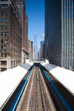 Famous elevated overhead commuter train in Chicago. Stock Image