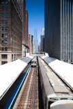 Famous elevated overhead commuter train in Chicago Stock Photo