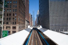 Famous elevated overhead commuter train in Chicago Royalty Free Stock Photos