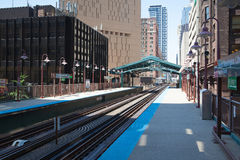 Famous elevated overhead commuter train in Chicago Stock Image