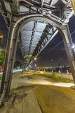 Famous elevated train near Landungsbruecken by night Royalty Free Stock Images