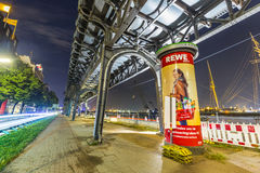 Famous elevated train near Landungsbruecken by night Stock Images