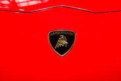 Famous emblem of Lamborghini sports cars. Stock Photography