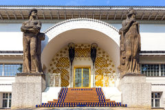 Famous entrance to the Ernst-Ludwig House at the mathildenhoehe. DARMSTADT, GERMANY - APR 24: entrance to the Ernst-Ludwig House at the mathildenhoehe on April Stock Image