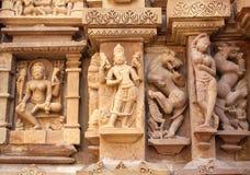 Famous erotic human sculptures at temple, Khajuraho, India Royalty Free Stock Photo