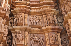 Famous erotic human sculptures at temple, Khajuraho, India Royalty Free Stock Photos