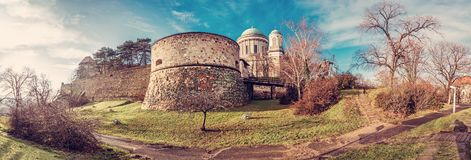 Famous Esztergom basilica, Hungary, red filter Stock Photography