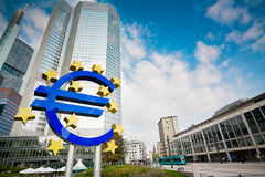 Famous euro sign in Frankfurt. Am Main wide-angle shot royalty free stock photography