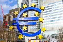 Famous euro sign in Frankfurt am Royalty Free Stock Photos