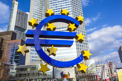 Famous euro sign in Frankfurt Stock Image