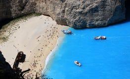 Famous european beach Navagio in Zakynthos island Royalty Free Stock Photos
