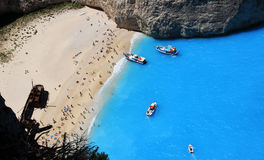 Famous european beach Navagio in Zakynthos island Stock Photos
