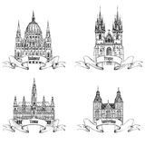 Famous European buildings. Hand drawn sketch landmarks collectio Royalty Free Stock Photos