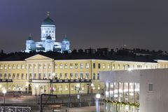 Famous European Destinations. Upper View of Renowned Lutheran Cathedral. Behind the Govenment Palace in Helsinki on Katajanokka Peninsula, Finland Royalty Free Stock Photography