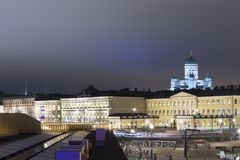 Famous European Destinations. Upper View of Renowned Lutheran Cathedral. Behind the Govenment Palace in Helsinki on Katajanokka Peninsula, Finland. Horizontal Stock Images