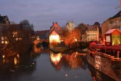 The famous executioner`s bridge at nightfall. Nurnberg, Germany. royalty free stock image