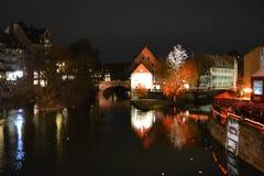 The famous executioner`s bridge at nightfall. Nurnberg, Germany. stock photos