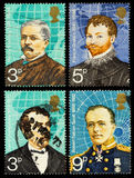 Famous Explorers Postage Stamps. Set of used postage stamps printed in Britain showing the Famous British Explorers Henry Stanley, Sir Francis Drake, Captain Stock Photo