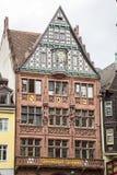 Famous facade of medieval house of the Freiburger Zeitung Stock Photos