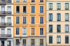 Famous facades in Lyon city Royalty Free Stock Images