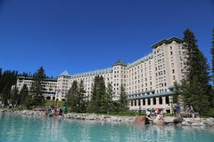 Famous Fairmont Chateau Lake Louise Hotel Royalty Free Stock Photography