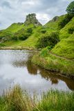 The famous Fairy Glen, located in the hills above the village of Uig on the Isle of Skye in Scotland. Idyllic small glen located in the hills above the village Royalty Free Stock Photography