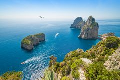 Famous Faraglioni rocks near Capri island, Italy stock image