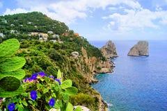 Capri coast. Famous Faraglioni rocks off the island of Capri, Italy royalty free stock images