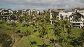 Luxurious 5 *resort montage kapalua among tropical nature on the bird`s eye view on island maui,hawaii stock footage
